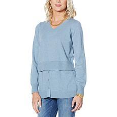 DG2 by Diane Gilman Tri-Blend Knit Peplum Sweater
