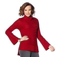 DG2 by Diane Gilman Turtleneck Flare-Sleeve Sweater