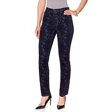 DG2 by Diane Gilman Virtual Stretch Baroque Flocked Skinny Jean