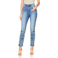 DG2 by Diane Gilman Virtual Stretch Butterfly Embroidered Skinny