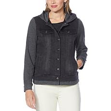 DG2 by Diane Gilman Virtual Stretch Combo Hooded Jean Jacket