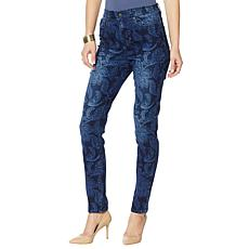 DG2 by Diane Gilman Virtual Stretch Paisley-Print Skinny Jean - Basic