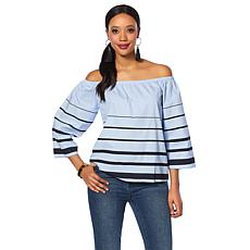 DG2 by Diane Gilman Wide Stripe On/Off-Shoulder Top