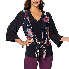DG2 by Diane Gilman Winter Bloom Liquid Jersey Tie-Front Top
