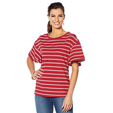 DG2 by Diane Ruffle Sleeve Stripe Tee