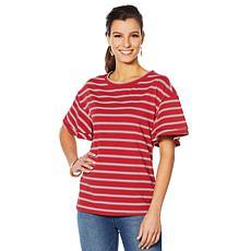 DG2 by Diane Ruffle Sleeve Stripe Tee
