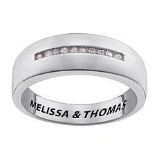 Diamond-Accented Engraved Wedding Band Ring