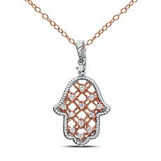 "Diamond Couture 14K Gold 0.2ctw Diamond Hamsa Pendant with 18"" Chain"
