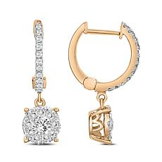 Diamond Couture 14K Gold 0.75ctw Diamond Cluster Single Drop Earrings