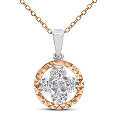 "Diamond Couture 14K Rose and White Gold Flower Pendant with 18"" Chain"