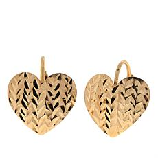 Dieci 10K Gold Diamond-Cut Heart Earrings