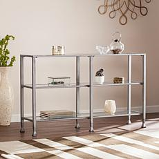 Dina Metal/Glass 3-Tier Console Table Media Stand - Silver