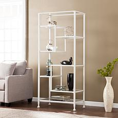 Dina Metal/Glass Asymmetrical Étagère Bookcase - White