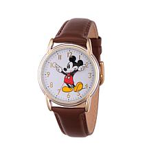 Disney 2-Tone Mickey Mouse Brown Leather Strap Watch