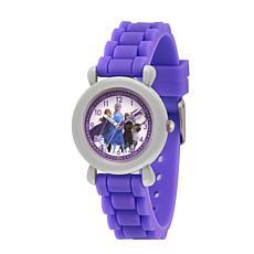 Disney Frozen 2 Characters Kids' Gray Time Teacher Purple Strap Watch
