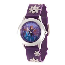 Disney Frozen 2 Elsa and Anna Kids' Watch with Purple 3-D Strap