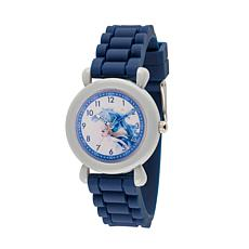 Disney Frozen 2 Elsa Kids' Gray Time Teacher Watch with Blue Strap