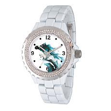 Disney Frozen 2 Elsa Women's Enamel Sparkle White Alloy Bracelet Watch
