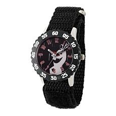 Disney Frozen 2 Olaf Kids' Black Bezel Watch with Black Nylon Strap