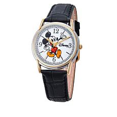 Disney Mickey Mouse 2-tone Black Leather Strap Watch