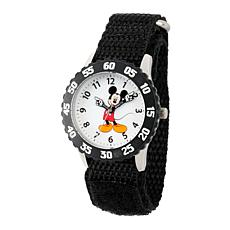 Disney Mickey Mouse Kid's Time Teacher Watch w/ Black Nylon Strap