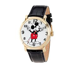 Disney Mickey Mouse Men's Goldtone Black Leather Strap Watch
