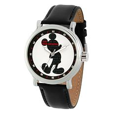 Disney Mickey Mouse Men's Silver Vintage Watch w/ Black Leather Strap