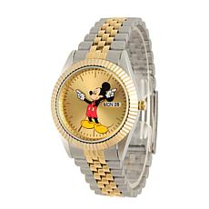 Disney Mickey Mouse Men's Two Tone  Watch w/ Stainless Steel Bracelet