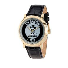 "Disney Mickey Mouse ""The Original"" Men's Goldtone Leather Strap Watch"