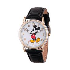 Disney Mickey Mouse Womens  Cardiff Alloy Watch w/ Black Leather Strap