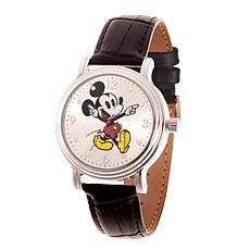 Disney Mickey Mouse Women's Shiny Silver Watch w/ Black Leather Strap