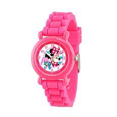 Disney Minnie Mouse Kids Pink Time Teacher Watch w/ Silicone Strap