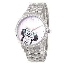 Disney Minnie Mouse Women's Silver Alloy Glitz Watch