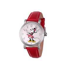 Disney Silvertone Minnie Mouse Red Leather Strap Watch