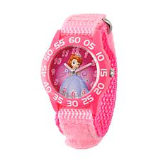 Disney Sofia Kids Pink Plastic Time Teacher Watch w/ Pink Nylon Strap