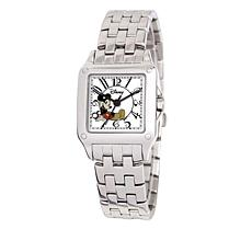 Disney Women's Mickey Mouse Silvertone Square Dial Bracelet Watch