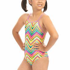 Dolfin Uglies Girl's Printed Keyhole Back 1-piece Swimsuit