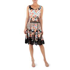 Donna Ricco Black Multi Sleeveless Sweetheart Fit and Flare Dress