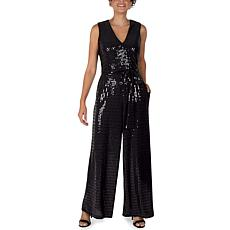 Donna Ricco Black Stretch Sequin Jumpsuit