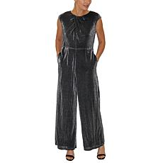 Donna Ricco Cap-Sleeve Metallic Knit Jumpsuit with Pockets