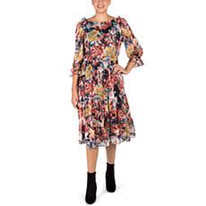Donna Ricco Floral Chiffon Midi Dress