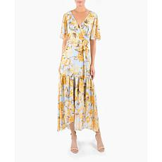 Donna Ricco V-Neck Short Sleeve Wrap Floral Chiffon Midi Dress