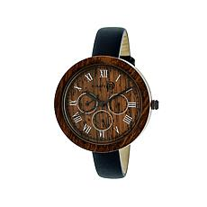 Earth Wood Brush Wooden Dial Blue Leather Strap Watch