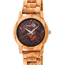 Earth Wood Crown Chevron Dial Khaki Wood Bracelet Watch