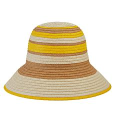 Echo Striped Straw Cloche Hat