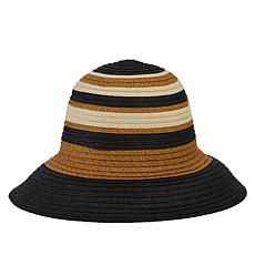 Echo Striped Straw Cloche Hat