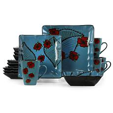 Elama Aloha Tide 16 Piece Square Stoneware Dinnerware Set in Blue a...