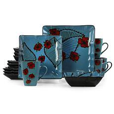 Elama Aloha Tide 16 Piece Square Stoneware Dinnerware Set in Blue a...
