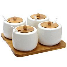 Elama Ceramic Spice, Jam and Salsa Jars w/Bamboo Lids & Serving Spoons