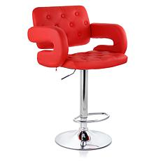 Elama Faux Leather Tufted Bar Stool in Red with Adjustable Chrome B...